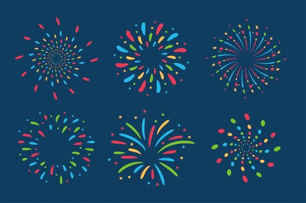 Collezione di fuochi d'artificio. Vettore Premium