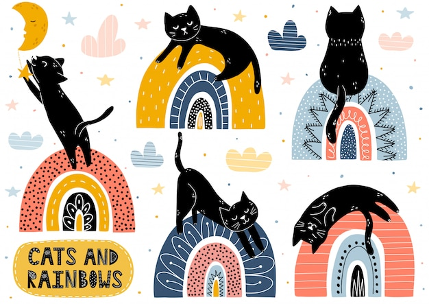 Collezione di gatti e arcobaleni. insieme di elementi isolato fantasia con simpatici personaggi Vettore Premium