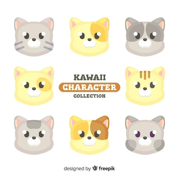 Collezione di gatti kawaii Vettore gratuito