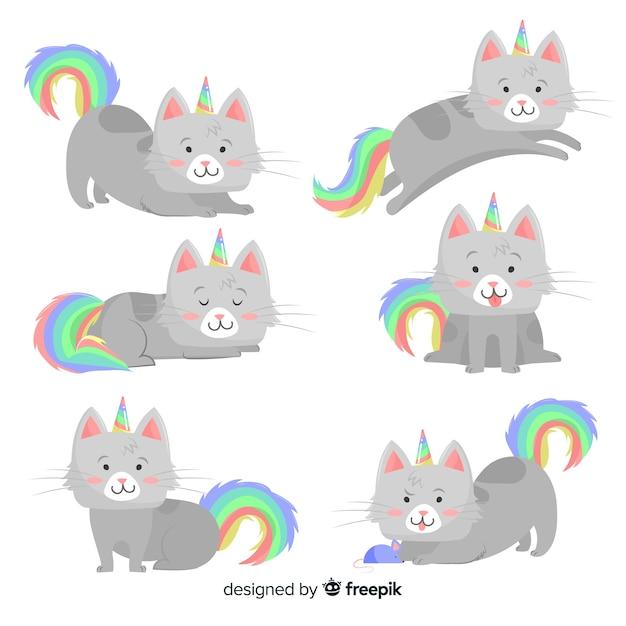 Collezione di gatti stile unicorno kawaii Vettore gratuito