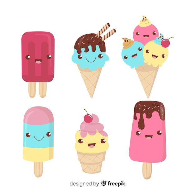 Collezione di gelato kawaii disegnata a mano Vettore gratuito