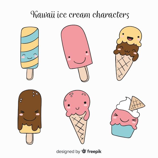 Collezione di gelato kawaii Vettore gratuito