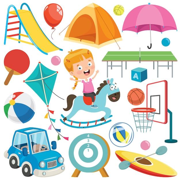 Collezione di giocattoli colorati e oggetti Vettore Premium