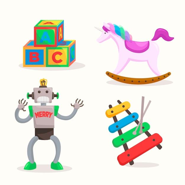 Collezione di giocattoli di natale disegnati a mano Vettore gratuito