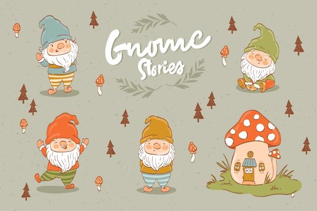 Collezione di gnomi o nani simpatico cartone animato Vettore Premium