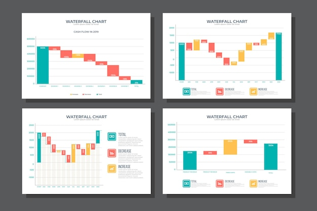 Collezione di grafici a cascata infografica Vettore gratuito