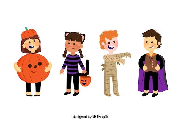 Collezione di halloween bambino su design piatto Vettore gratuito