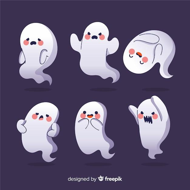 Collezione di halloween di fantasmi del fumetto arrossendo Vettore gratuito