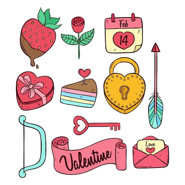 Collezione di icone carino san valentino doodle colorato Vettore Premium