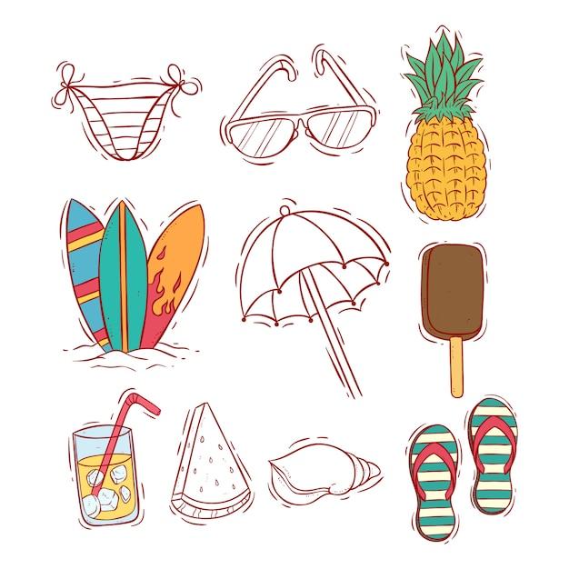 Collezione di icone colorate estate doodle Vettore Premium