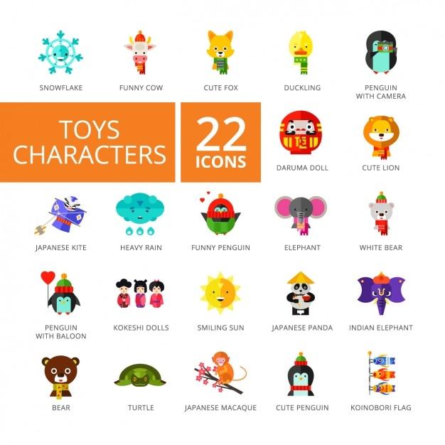 Collezione di icone del giocattolo Vettore gratuito