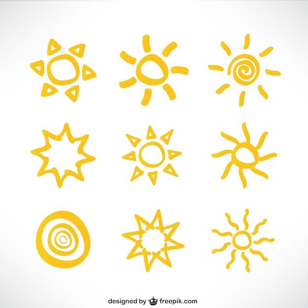 Collezione di icone del sole Vettore gratuito