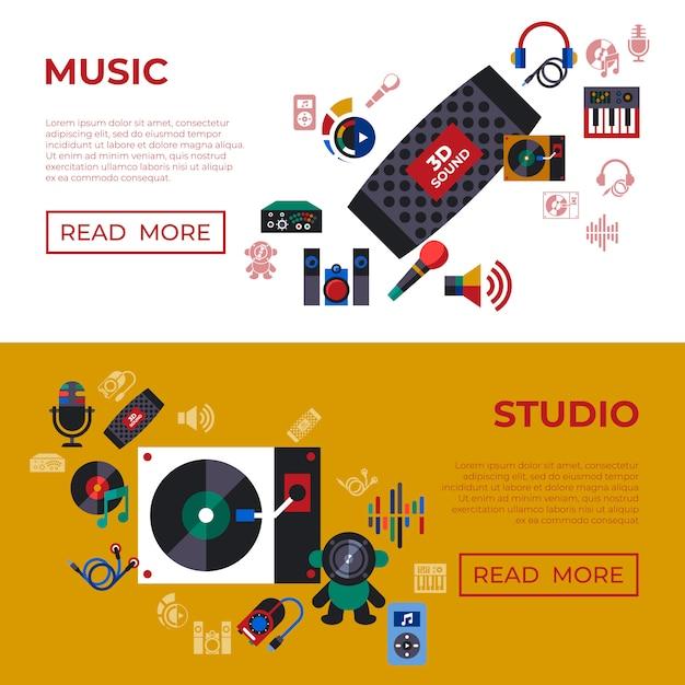 Collezione di icone del suono e della musica design Vettore Premium