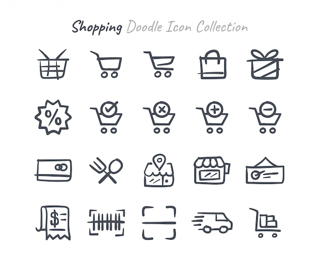 Collezione di icone dello shopping doodle Vettore Premium