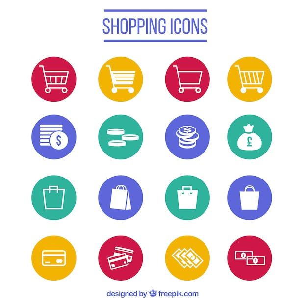 Collezione di icone dello shopping Vettore gratuito