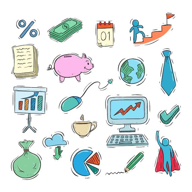 Collezione di icone di affari carino con stile colorato doodle Vettore Premium