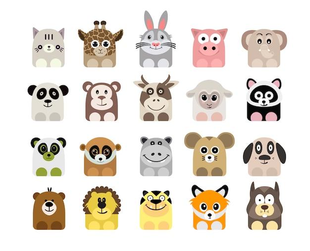 Collezione di icone di animali Vettore gratuito