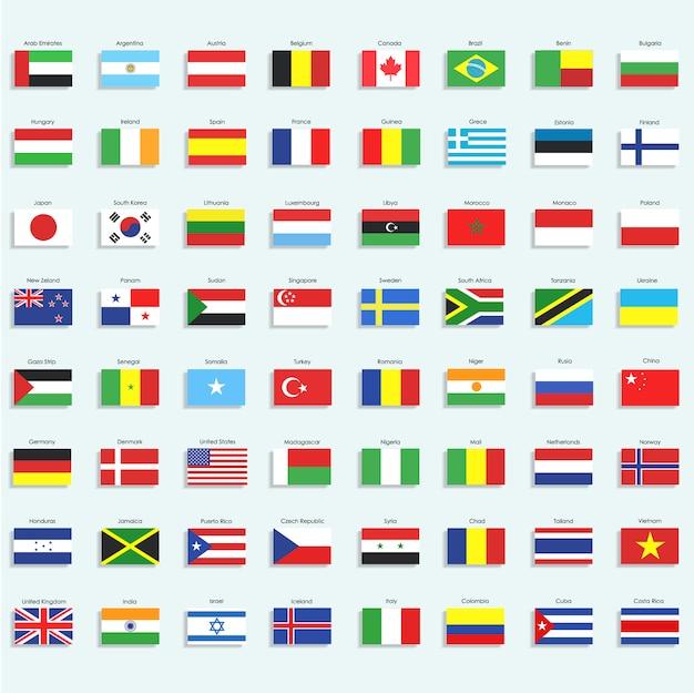 Collezione di icone di bandiera Vettore gratuito