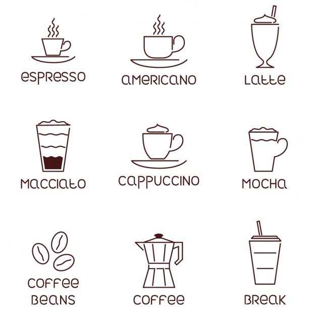 Collezione di icone di caffè lineari con descrizioni Vettore gratuito