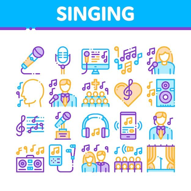 Collezione di icone di canzoni di canto Vettore Premium