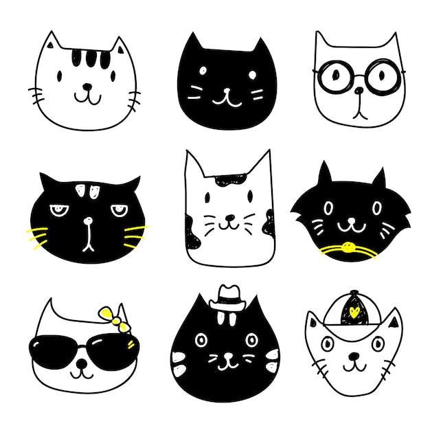 Collezione di icone di cat Vettore gratuito