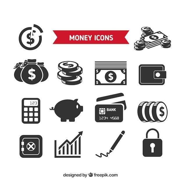 Collezione di icone di denaro Vettore gratuito