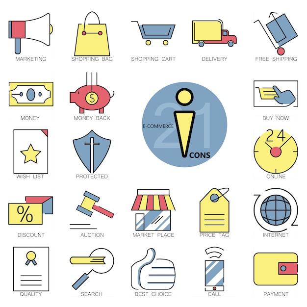 Collezione di icone di e-commerce Vettore gratuito