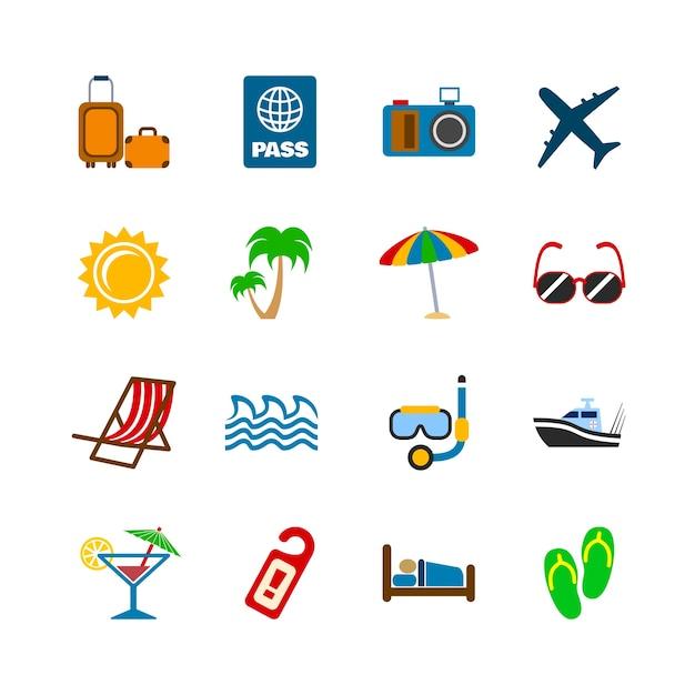 Collezione di icone di estate Vettore gratuito