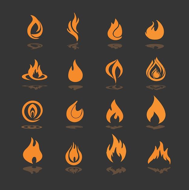 Collezione di icone di fuoco Vettore gratuito