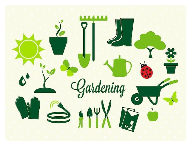 Collezione di icone di giardinaggio Vettore gratuito