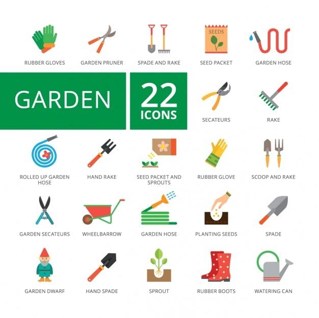 Collezione di icone di giardino Vettore gratuito