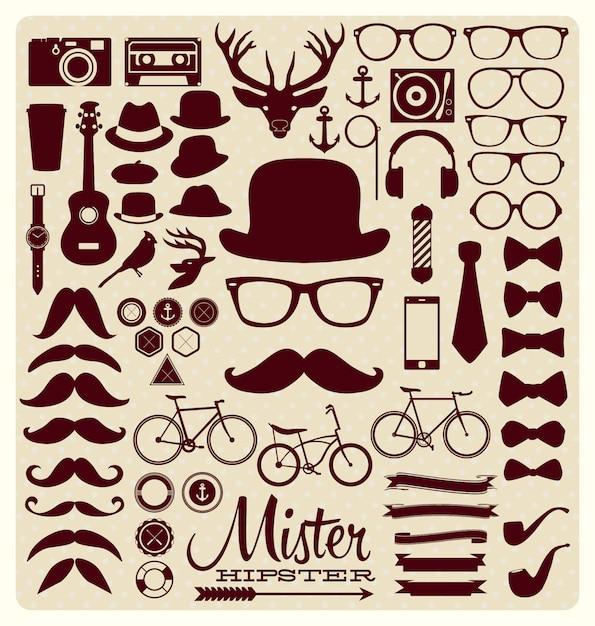 Collezione di icone di hipster Vettore gratuito