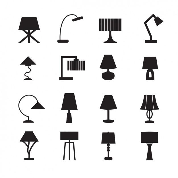 Collezione di icone di lampade Vettore gratuito