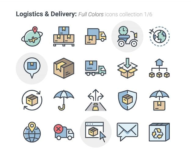 Collezione di icone di logistica e consegna Vettore Premium
