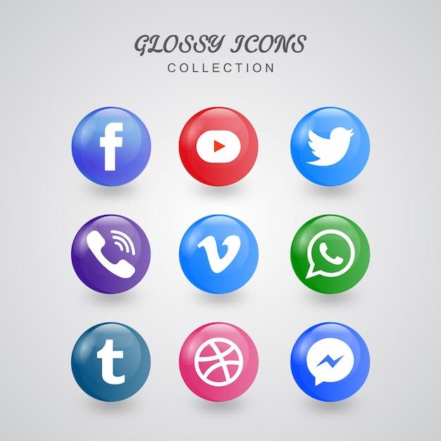 Collezione di icone di media sociali lucido Vettore Premium