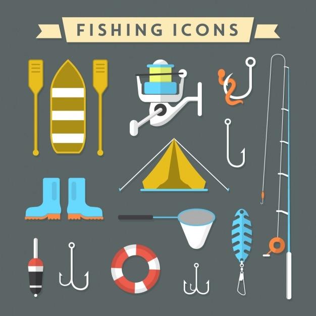 Collezione di icone di pesca Vettore gratuito