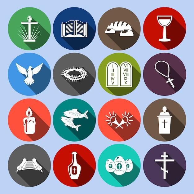 Collezione di icone di religione Vettore gratuito