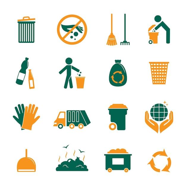 Collezione di icone di riciclaggio Vettore gratuito