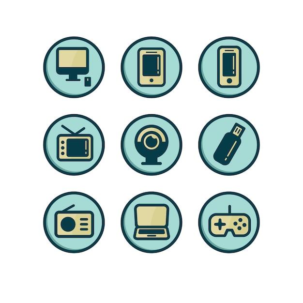 Collezione di icone di technologic Vettore gratuito