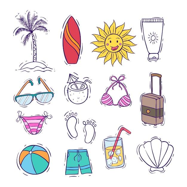 Collezione di icone estate carino o elementi con stile colorato doodle Vettore Premium