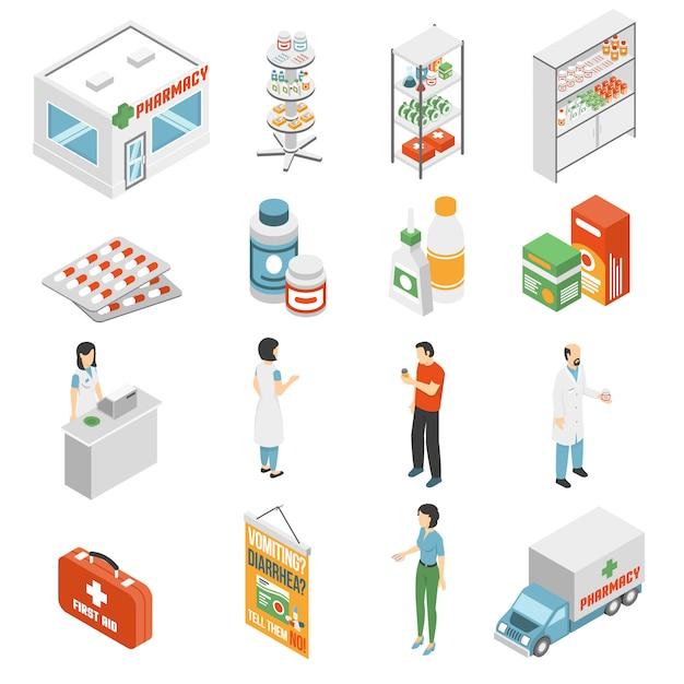 Collezione di icone isometriche concetto di farmacia Vettore gratuito