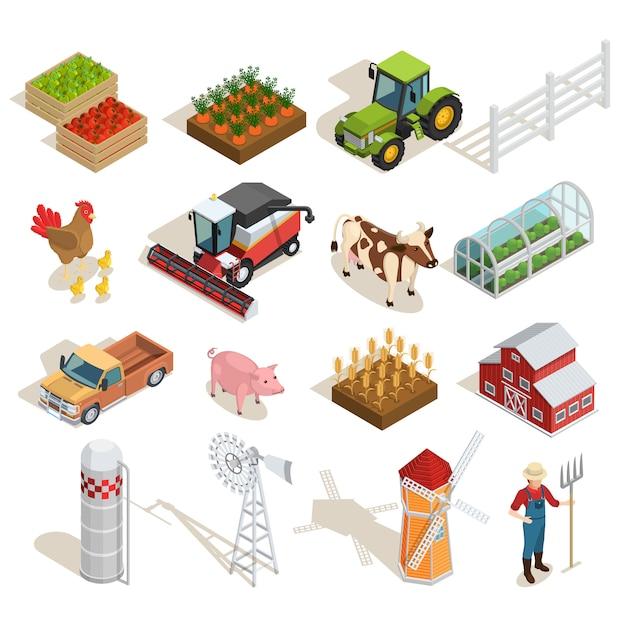 Collezione di icone isometriche di fattoria Vettore gratuito