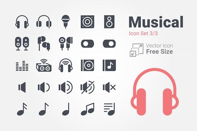 Collezione di icone musicali vettoriali con stile solido Vettore Premium
