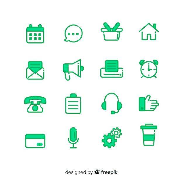 Collezione di icone per biglietto da visita Vettore gratuito