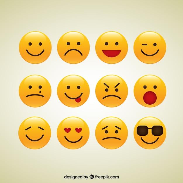 Collezione di icone smiley Vettore gratuito
