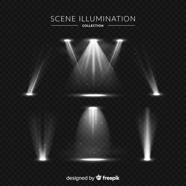 Collezione di illuminazione di scena realistica Vettore gratuito