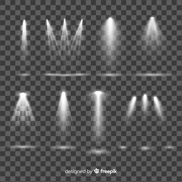 Collezione di illuminazione realistica dei riflettori Vettore gratuito