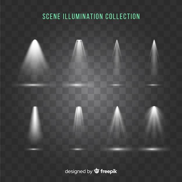Collezione di illuminazione scenica Vettore gratuito