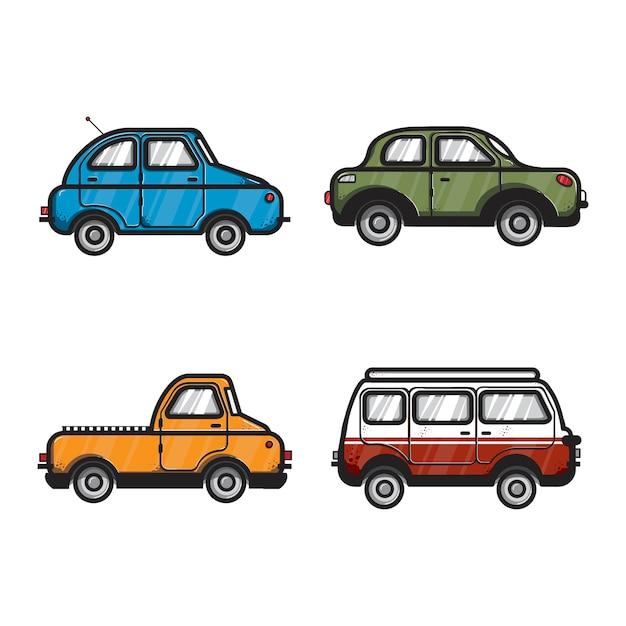 Collezione di illustrazioni di auto e veicoli Vettore gratuito