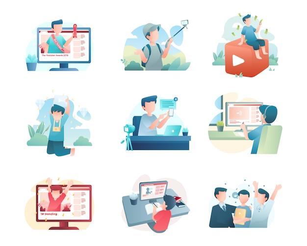 Collezione di illustrazioni youtuber Vettore Premium